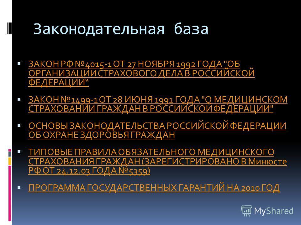 Законодательная база ЗАКОН РФ 4015-1 ОТ 27 НОЯБРЯ 1992 ГОДА