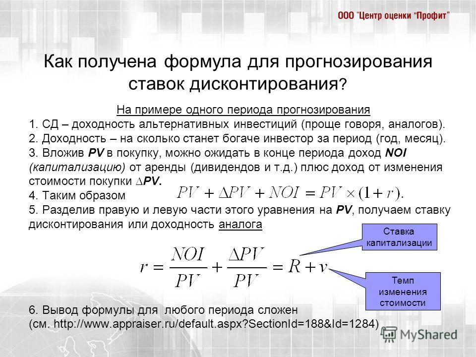 Как получена формула для прогнозирования ставок дисконтирования ? На примере одного периода прогнозирования 1. СД – доходность альтернативных инвестиций (проще говоря, аналогов). 2. Доходность – на сколько станет богаче инвестор за период (год, месяц