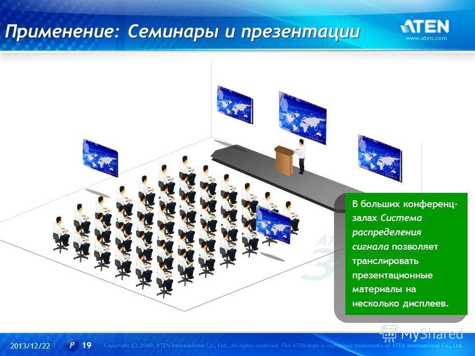 2013/12/22 www.aten.com 19 Применение: Семинары и презентации В больших конференц- залах Система распределения сигнала позволяет транслировать презентационные материалы на несколько дисплеев.
