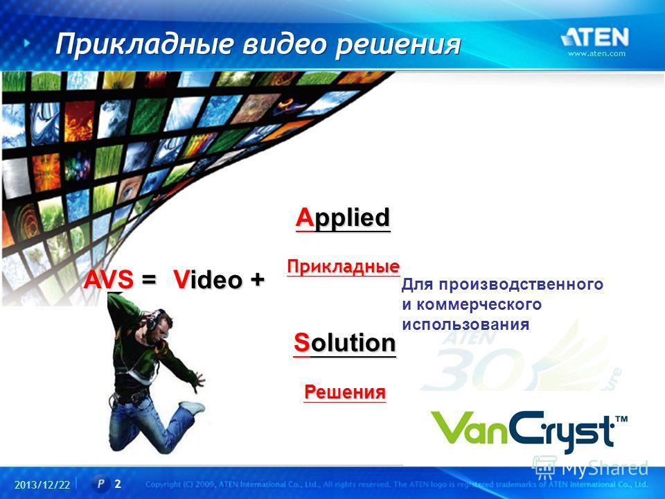 2013/12/22 www.aten.com 2 Прикладные видео решения AVS = Applied Прикладные Для производственного и коммерческого использования Solution Решения Video +