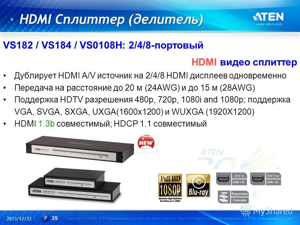 2013/12/22 www.aten.com 35 HDMI Сплиттер (делитель) VS182 / VS184 / VS0108H: 2/4/8-портовый HDMI видео сплиттер Дублирует HDMI A/V источник на 2/4/8 HDMI дисплеев одновременно Передача на расстояние до 20 м (24AWG) и до 15 м (28AWG) Поддержка HDTV ра