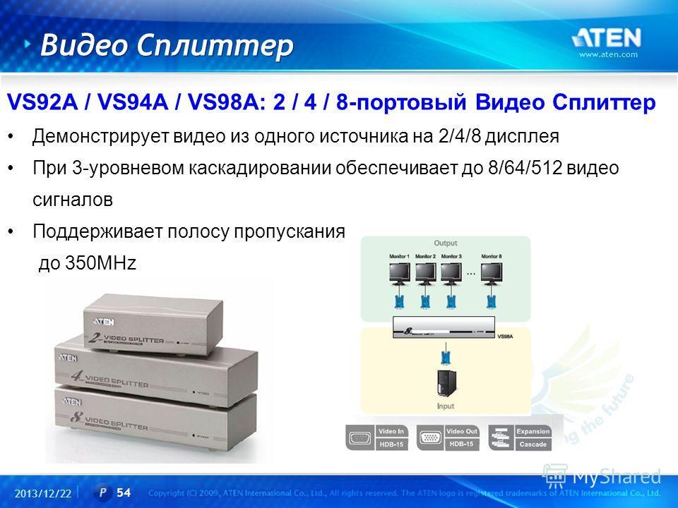 2013/12/22 www.aten.com 54 Видео Сплиттер VS92A / VS94A / VS98A: 2 / 4 / 8-портовый Видео Сплиттер Демонстрирует видео из одного источника на 2/4/8 дисплея При 3-уровневом каскадировании обеспечивает до 8/64/512 видео сигналов Поддерживает полосу про