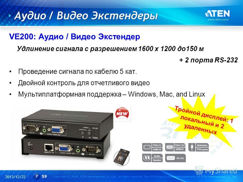 2013/12/22 www.aten.com 59 Аудио / Видео Экстендеры VE200: Аудио / Видео Экстендер Удлинение сигнала с разрешением 1600 x 1200 до150 м + 2 порта RS-232 Проведение сигнала по кабелю 5 кат. Двойной контроль для отчетливого видео Мультиплатформная подде