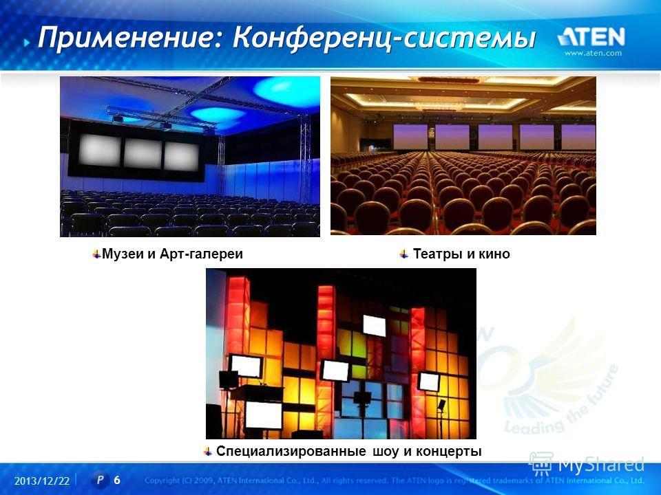 2013/12/22 www.aten.com 6 Применение: Конференц-системы Музеи и Арт-галереи Театры и кино Специализированные шоу и концерты