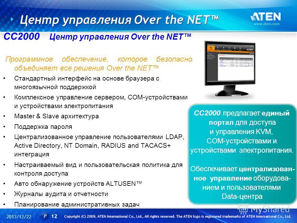Центр управления Over the NET CC2000 Центр управления Over the NET Программное обеспечение, которое безопасно объединяет все решения Over the NET Стандартный интерфейс на основе браузера с многоязычной поддержкой Комплексное управление сервером, COM-