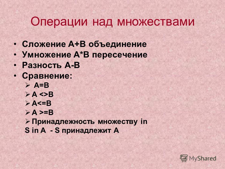 Операции над множествами Сложение А+В объединение Умножение А*В пересечение Разность А-В Сравнение: А=В А В А=B Принадлежность множеству in S in A - S принадлежит А