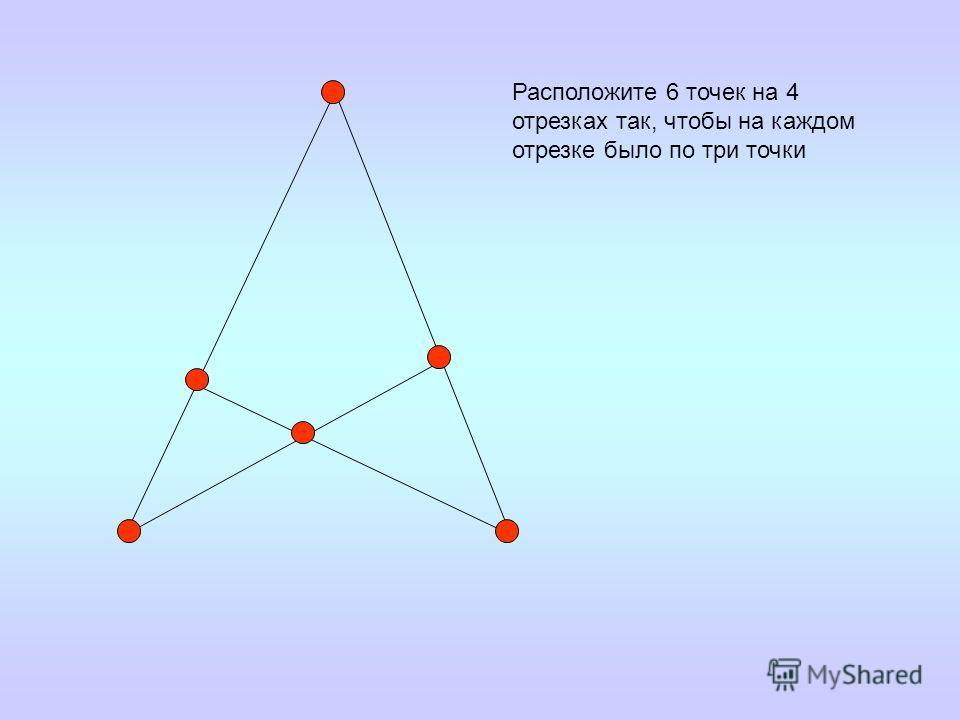 Расположите 6 точек на 4 отрезках так, чтобы на каждом отрезке было по три точки