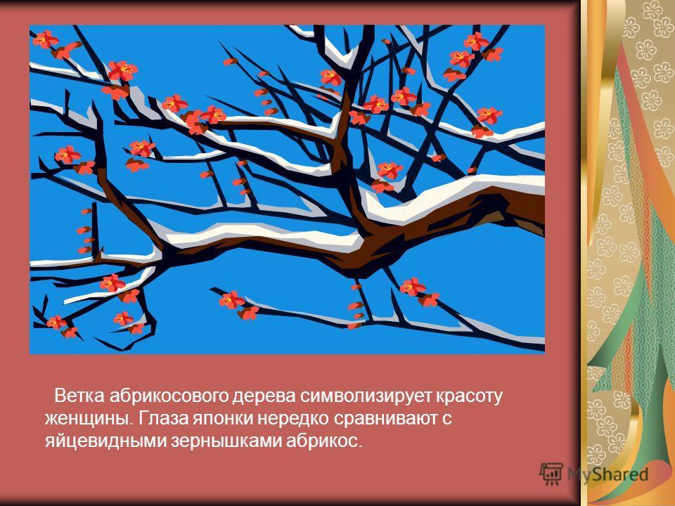 Ветка абрикосового дерева символизирует красоту женщины. Глаза японки нередко сравнивают с яйцевидными зернышками абрикос.