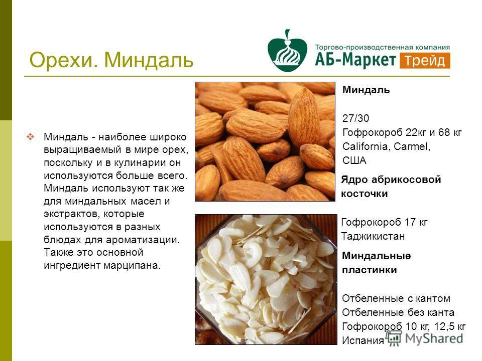 Орехи. Миндаль Миндаль - наиболее широко выращиваемый в мире орех, поскольку и в кулинарии он используются больше всего. Миндаль используют так же для миндальных масел и экстрактов, которые используются в разных блюдах для ароматизации. Также это осн