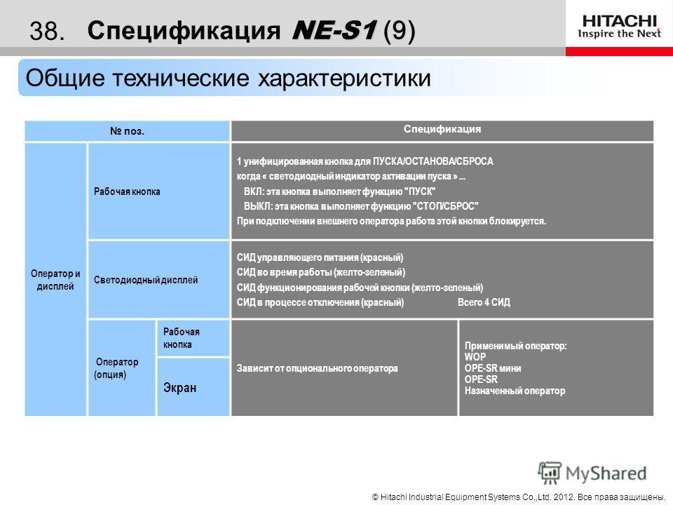 © Hitachi Industrial Equipment Systems Co.,Ltd. 2012. Все права защищены. 37. Спецификация NE-S1 Спецификация NE-S1 (8) Общие технические характеристики поз. Спецификация Защита Температурная погрешность Активируется, когда температура модуля превыша