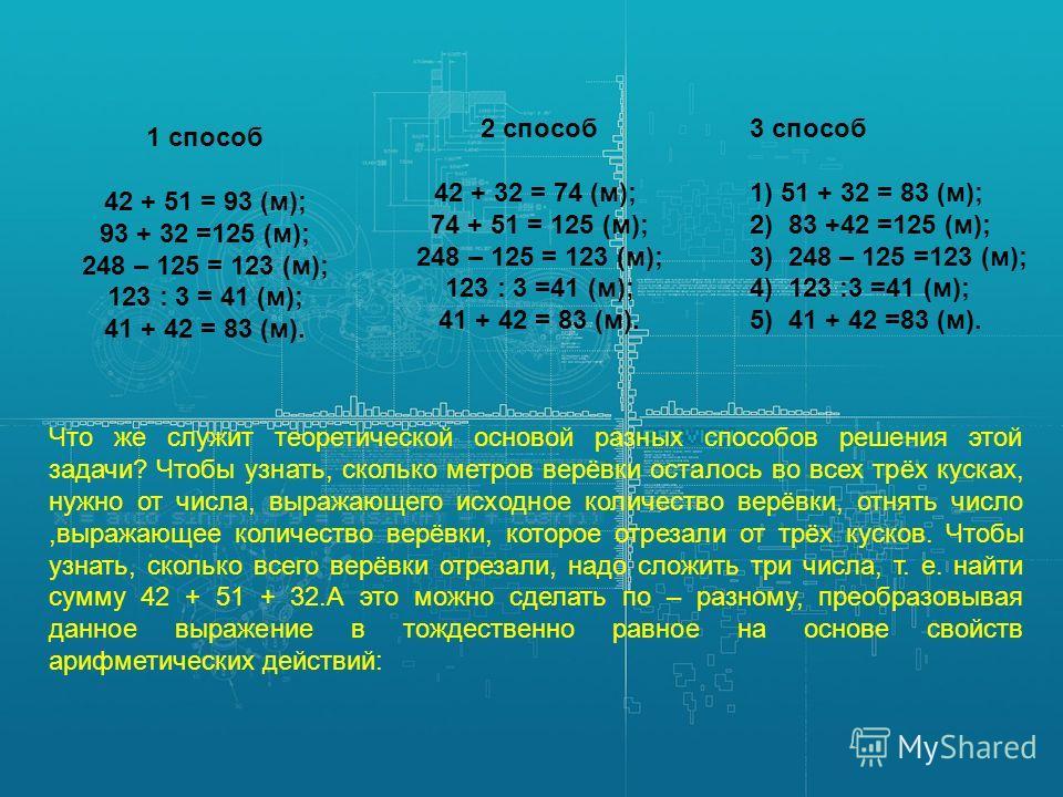 1 способ 42 + 51 = 93 (м); 93 + 32 =125 (м); 248 – 125 = 123 (м); 123 : 3 = 41 (м); 41 + 42 = 83 (м). 2 способ 42 + 32 = 74 (м); 74 + 51 = 125 (м); 248 – 125 = 123 (м); 123 : 3 =41 (м); 41 + 42 = 83 (м). 3 способ 1) 51 + 32 = 83 (м); 2) 83 +42 =125 (