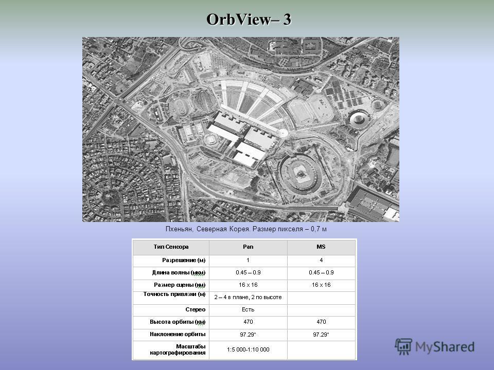 OrbView– 3 Пхеньян, Северная Корея. Размер пикселя – 0,7 м