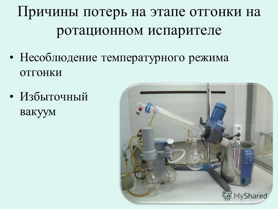 Причины потерь на этапе отгонки на ротационном испарителе Несоблюдение температурного режима отгонки Избыточный вакуум