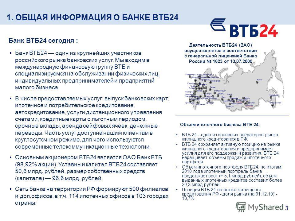 3 Банк ВТБ24 один из крупнейших участников российского рынка банковских услуг. Мы входим в международную финансовую группу ВТБ и специализируемся на обслуживании физических лиц, индивидуальных предпринимателей и предприятий малого бизнеса. В числе пр
