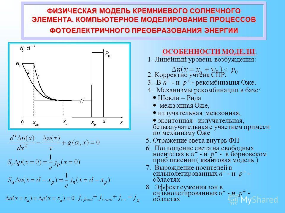 ОСОБЕННОСТИ МОДЕЛИ: 1. Линейный уровень возбуждения: 2. Корректно учтена СПР. 3. В n + - и p + - рекомбинация Оже. 4. Механизмы рекомбинации в базе: Шокли – Рида межзонная Оже, излучательная межзонная, экситонная - излучательная, безызлучательная с у