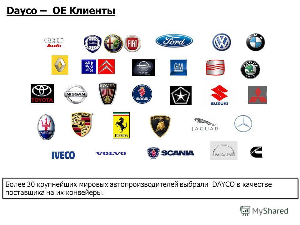 Dayco – OE Клиенты Более 30 крупнейших мировых автопроизводителей выбрали DAYCO в качестве поставщика на их конвейеры.
