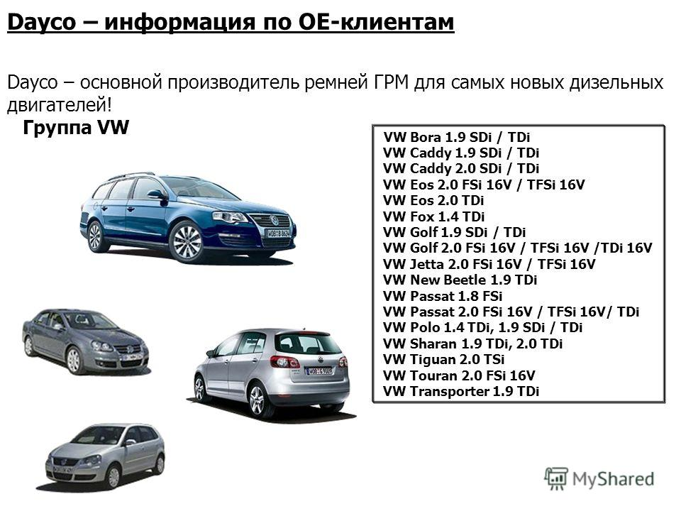 VW Bora 1.9 SDi / TDi VW Caddy 1.9 SDi / TDi VW Caddy 2.0 SDi / TDi VW Eos 2.0 FSi 16V / TFSi 16V VW Eos 2.0 TDi VW Fox 1.4 TDi VW Golf 1.9 SDi / TDi VW Golf 2.0 FSi 16V / TFSi 16V /TDi 16V VW Jetta 2.0 FSi 16V / TFSi 16V VW New Beetle 1.9 TDi VW Pas