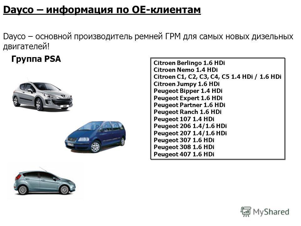 Группа PSA Citroen Berlingo 1.6 HDi Citroen Nemo 1.4 HDi Citroen C1, C2, C3, C4, C5 1.4 HDi / 1.6 HDi Citroen Jumpy 1.6 HDi Peugeot Bipper 1.4 HDi Peugeot Expert 1.6 HDi Peugeot Partner 1.6 HDi Peugeot Ranch 1.6 HDi Peugeot 107 1.4 HDi Peugeot 206 1.