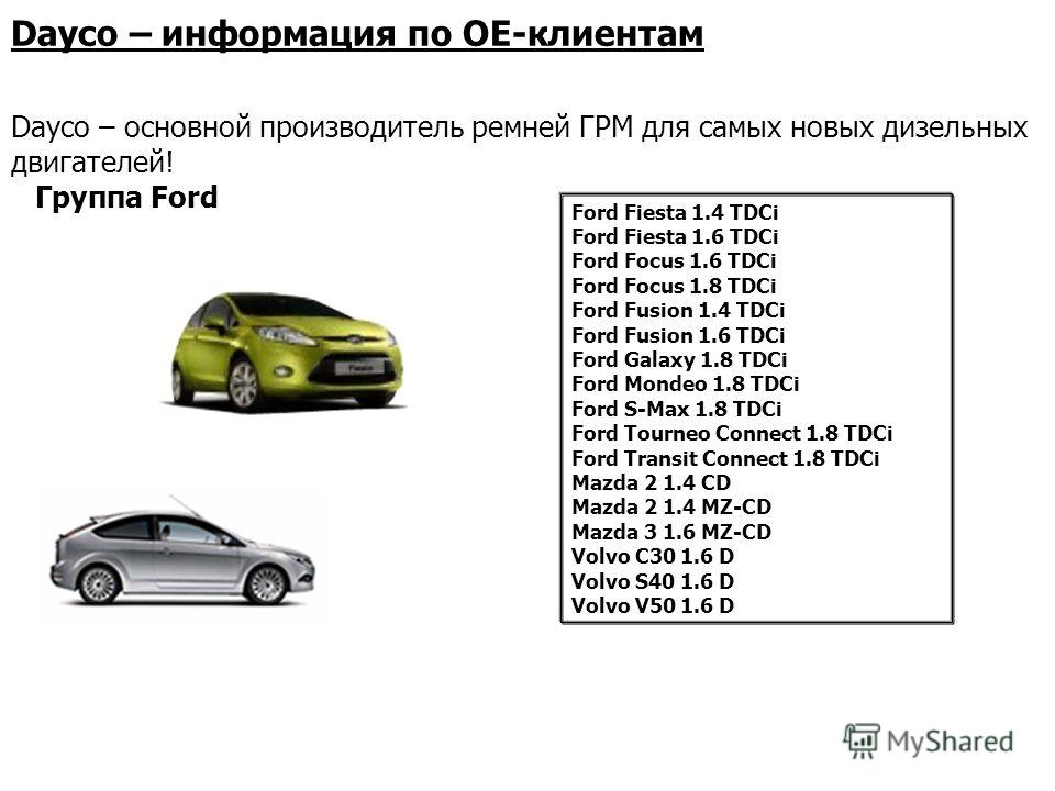 Группа Ford Ford Fiesta 1.4 TDCi Ford Fiesta 1.6 TDCi Ford Focus 1.6 TDCi Ford Focus 1.8 TDCi Ford Fusion 1.4 TDCi Ford Fusion 1.6 TDCi Ford Galaxy 1.8 TDCi Ford Mondeo 1.8 TDCi Ford S-Max 1.8 TDCi Ford Tourneo Connect 1.8 TDCi Ford Transit Connect 1