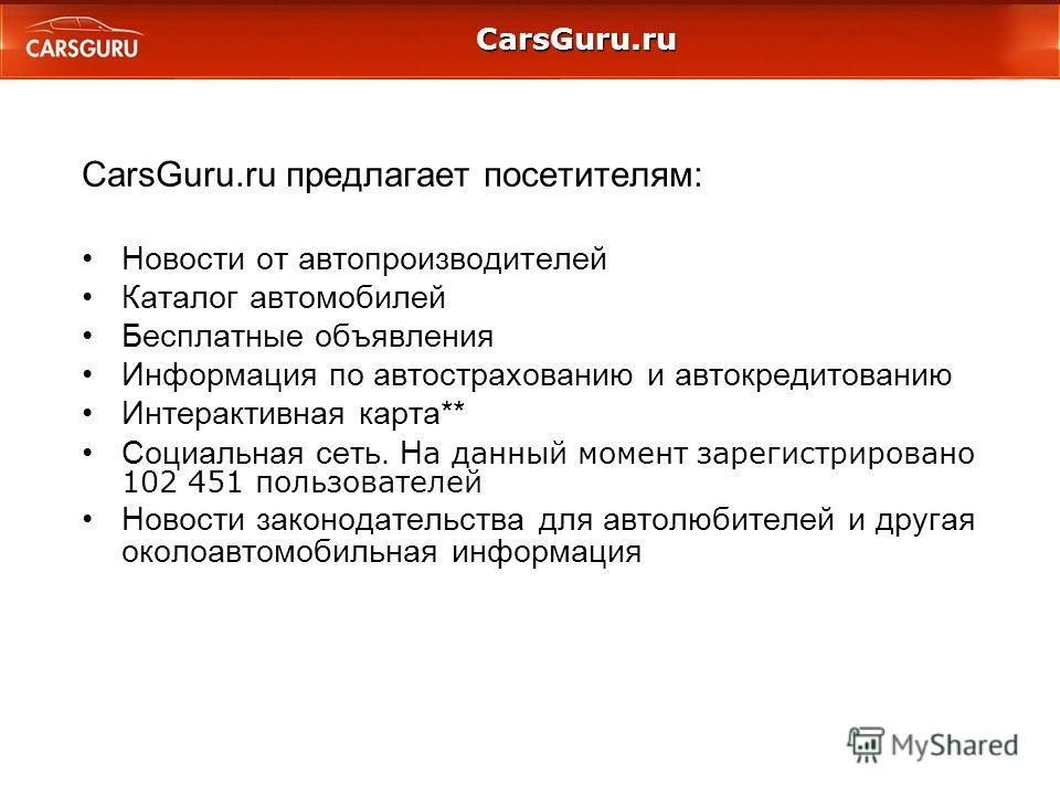 CarsGuru.ru CarsGuru.ru предлагает посетителям: Новости от автопроизводителeй Каталог автомобилей Бесплатные объявления Информация по автострахованию и автокредитованию Интерактивная карта** Социальная сеть. Н а данный момент зарегистрировано 102 451