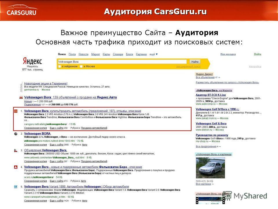 Аудитория CarsGuru.ru Важное преимущество Сайта – Аудитория Основная часть трафика приходит из поисковых систем: