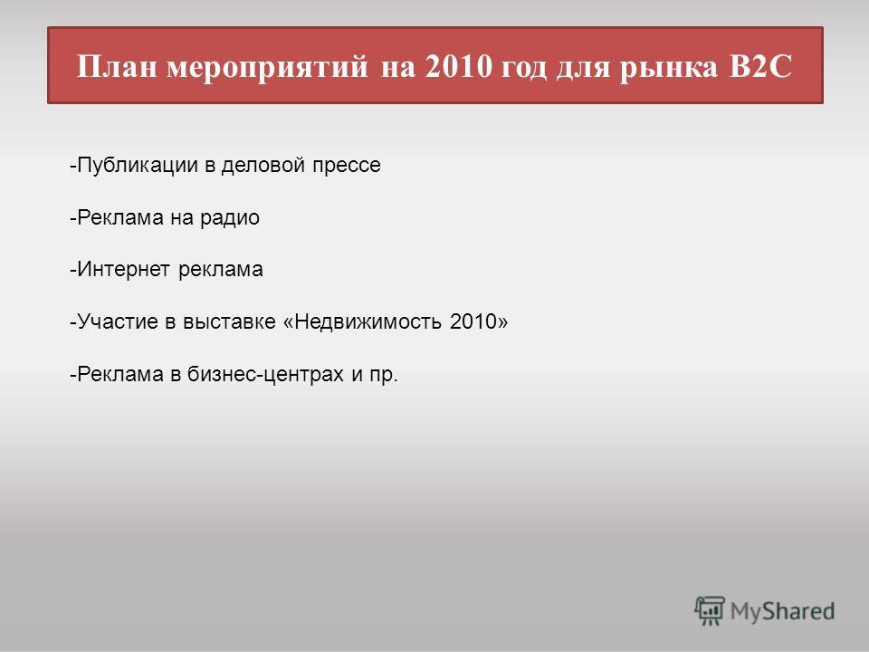 План мероприятий на 2010 год для рынка В2С -Публикации в деловой прессе -Реклама на радио -Интернет реклама -Участие в выставке «Недвижимость 2010» -Реклама в бизнес-центрах и пр.