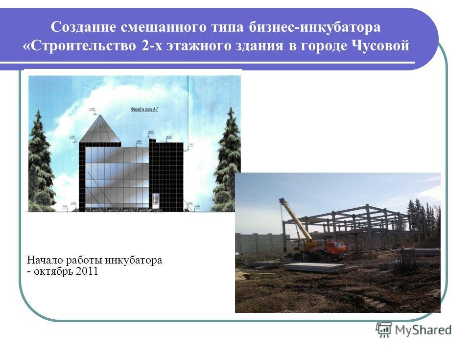 Создание смешанного типа бизнес-инкубатора «Строительство 2-х этажного здания в городе Чусовой Начало работы инкубатора - октябрь 2011