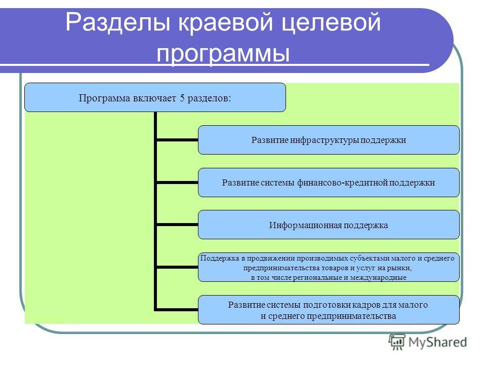 Разделы краевой целевой программы Программа включает 5 разделов: Развитие инфраструктуры поддержки Развитие системы финансово-кредитной поддержки Информационная поддержка Поддержка в продвижении производимых субъектами малого и среднего предпринимате