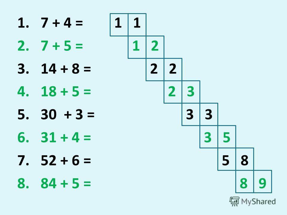 1. 7 + 4 = 2. 7 + 5 = 3. 14 + 8 = 4. 18 + 5 = 5. 30 + 3 = 6. 31 + 4 = 7. 52 + 6 = 8. 84 + 5 = 1 1 1 2 2 2 3 3 3 3 5 5 8 8 9