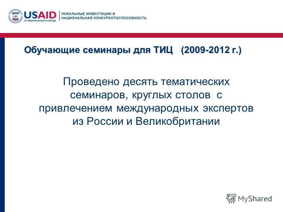 Обучающие семинары для ТИЦ (2009-2012 г.) Проведено десять тематических семинаров, круглых столов с привлечением международных экспертов из России и Великобритании