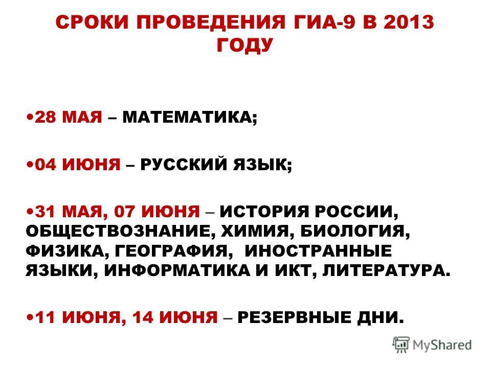 СРОКИ ПРОВЕДЕНИЯ ГИА-9 В 2013 ГОДУ 28 МАЯ – МАТЕМАТИКА; 04 ИЮНЯ – РУССКИЙ ЯЗЫК; 31 МАЯ, 07 ИЮНЯ – ИСТОРИЯ РОССИИ, ОБЩЕСТВОЗНАНИЕ, ХИМИЯ, БИОЛОГИЯ, ФИЗИКА, ГЕОГРАФИЯ, ИНОСТРАННЫЕ ЯЗЫКИ, ИНФОРМАТИКА И ИКТ, ЛИТЕРАТУРА. 11 ИЮНЯ, 14 ИЮНЯ – РЕЗЕРВНЫЕ ДНИ.