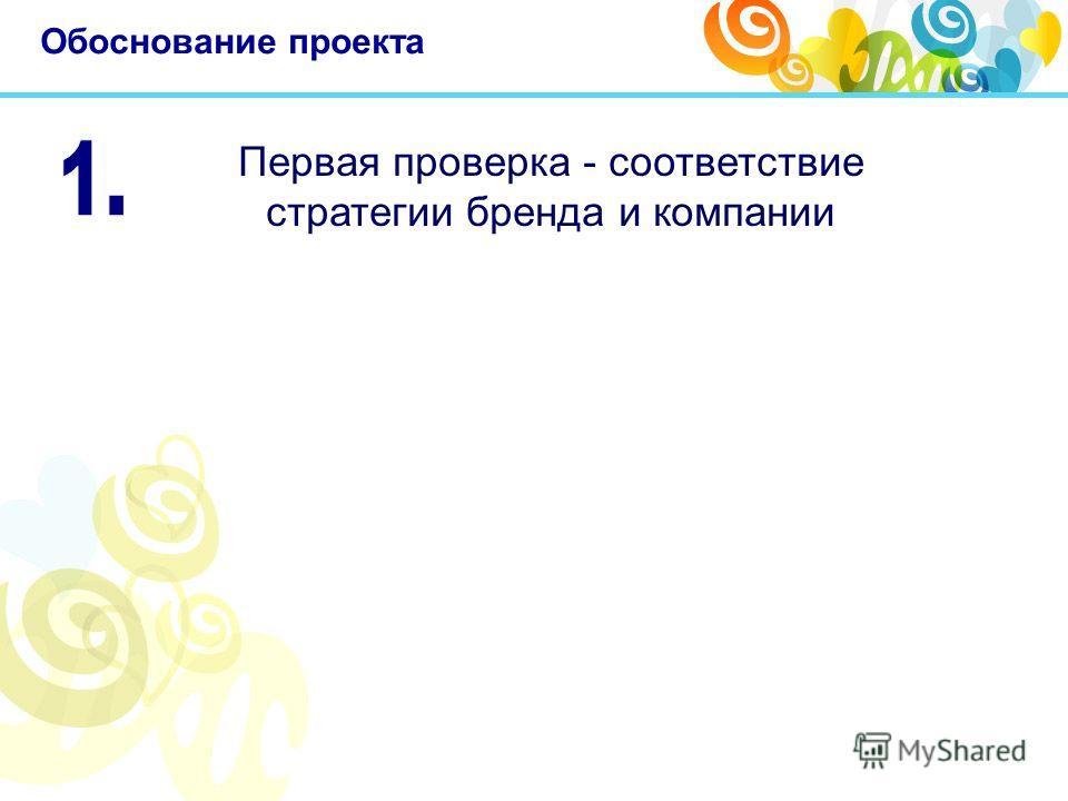 Обоснование проекта Первая проверка - соответствие стратегии бренда и компании