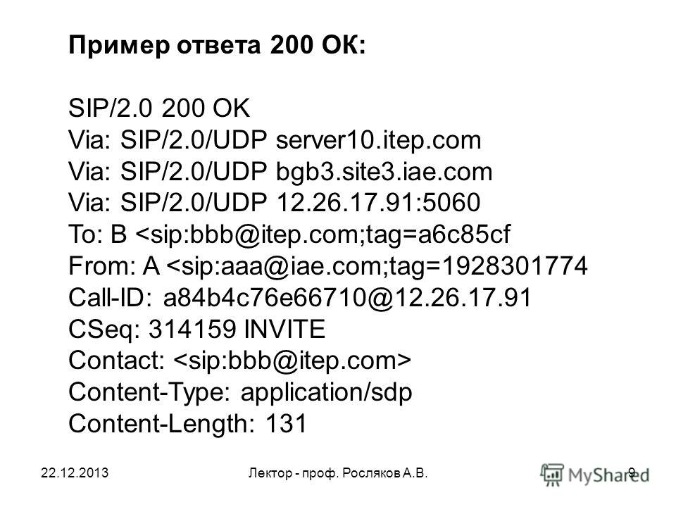 22.12.2013Лектор - проф. Росляков А.В.9 Пример ответа 200 ОК: SIP/2.0 200 OK Via: SIP/2.0/UDP server10.itep.com Via: SIP/2.0/UDP bgb3.site3.iae.com Via: SIP/2.0/UDP 12.26.17.91:5060 To: B Content-Type: application/sdp Content-Length: 131