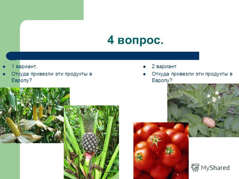 4 вопрос. 1 вариант. Откуда привезли эти продукты в Европу? 2 вариант Откуда привезли эти продукты в Европу?