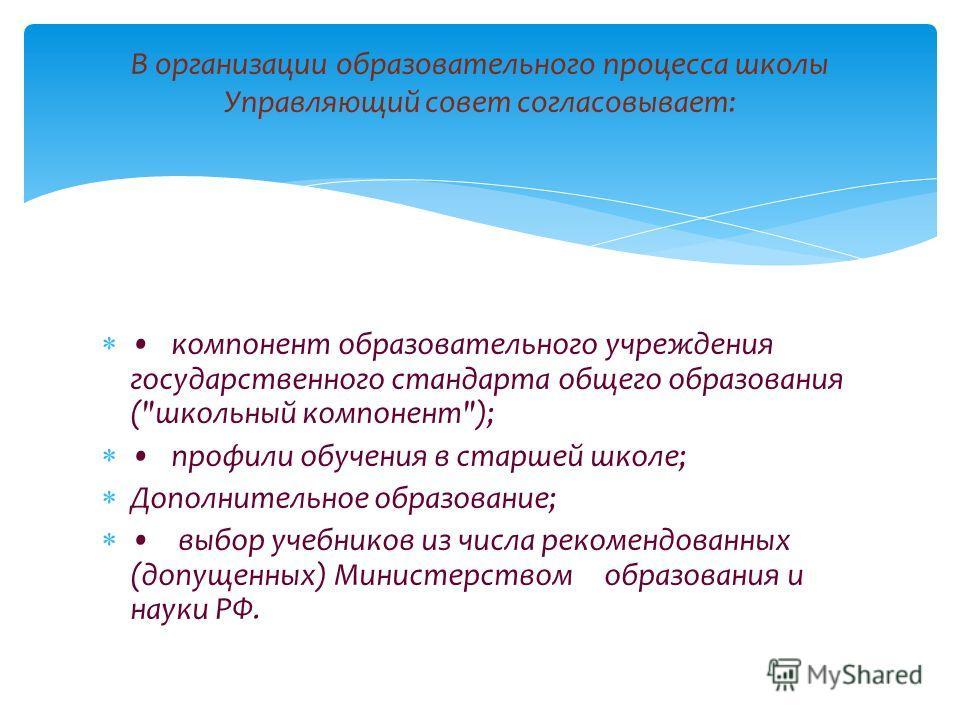 компонент образовательного учреждения государственного стандарта общего образования (