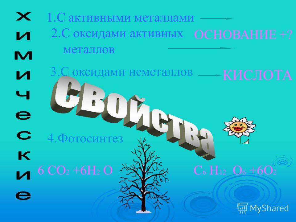 1.С активными металлами 2.С оксидами активных металлов 4.Фотосинтез 6 СО 2 +6H 2 ОС 6 H 12 О 6 +6О 2 ОСНОВАНИЕ +? КИСЛОТА 3.С оксидами неметаллов
