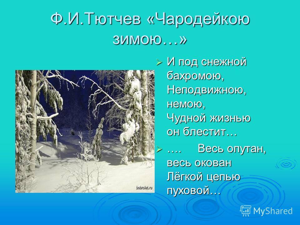 Ф.И.Тютчев «Чародейкою зимою…» И под снежной бахромою, Неподвижною, немою, Чудной жизнью он блестит… И под снежной бахромою, Неподвижною, немою, Чудной жизнью он блестит… …. Весь опутан, весь окован Лёгкой цепью пуховой… …. Весь опутан, весь окован Л