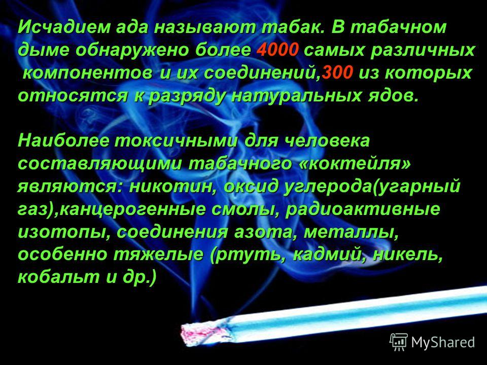 Исчадием ада называют табак. В табачном дыме обнаружено более 4000 самых различных компонентов и их соединений,300 из которых компонентов и их соединений,300 из которых относятся к разряду натуральных ядов. Наиболее токсичными для человека составляющ