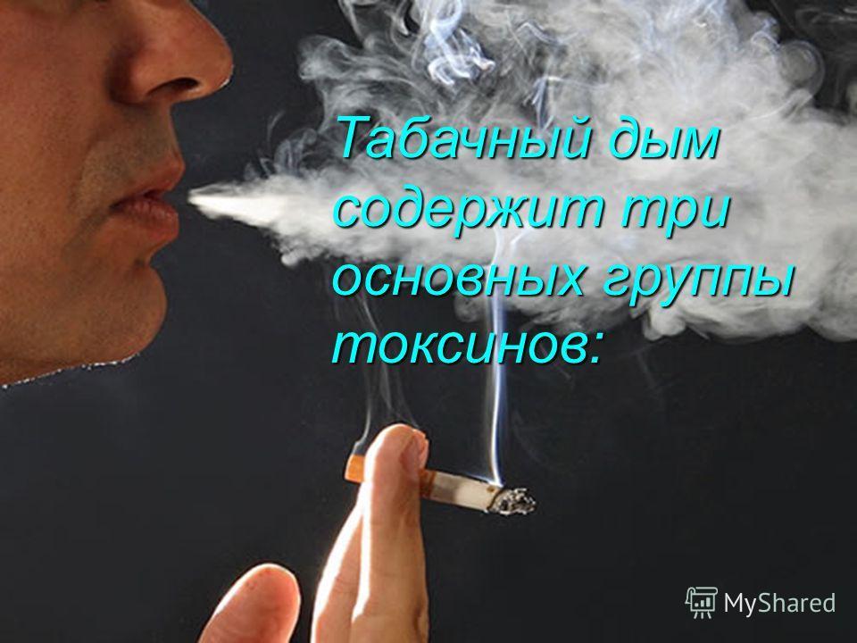 Табачный дым содержит три основных группы токсинов: