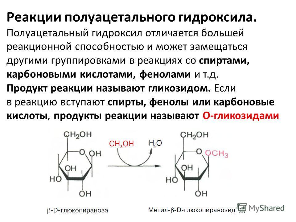 Реакции полуацетального гидроксила. Полуацетальный гидроксил отличается большей реакционной способностью и может замещаться другими группировками в реакциях со спиртами, карбоновыми кислотами, фенолами и т.д. Продукт реакции называют гликозидом. Если