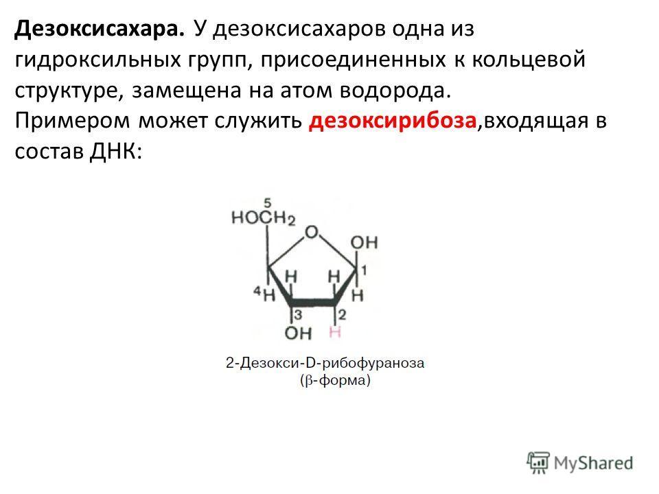 Дезоксисахара. У дезоксисахаров одна из гидроксильных групп, присоединенных к кольцевой структуре, замещена на атом водорода. Примером может служить дезоксирибоза,входящая в состав ДНК: