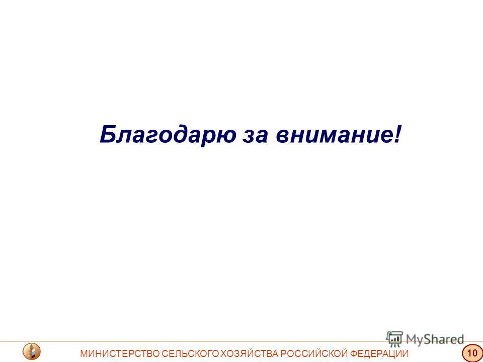 Благодарю за внимание! МИНИСТЕРСТВО СЕЛЬСКОГО ХОЗЯЙСТВА РОССИЙСКОЙ ФЕДЕРАЦИИ 10