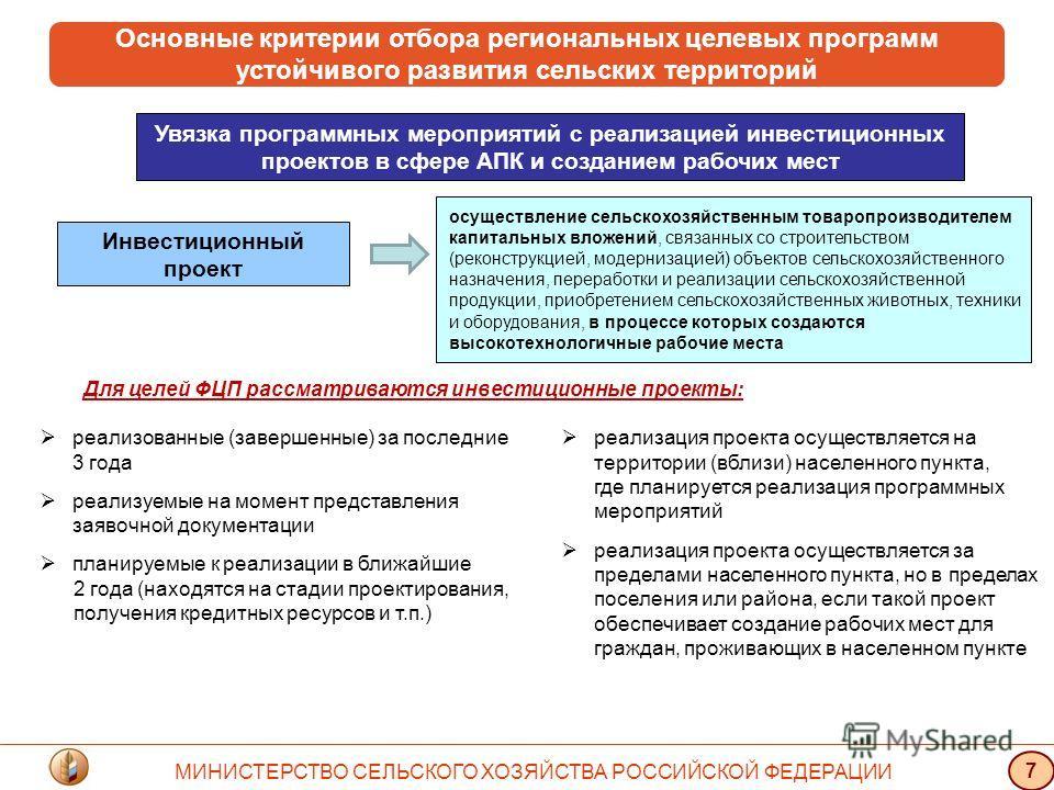 Основные критерии отбора региональных целевых программ устойчивого развития сельских территорий Увязка программных мероприятий с реализацией инвестиционных проектов в сфере АПК и созданием рабочих мест осуществление сельскохозяйственным товаропроизво