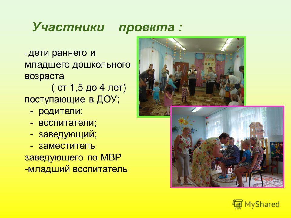 Участники проекта : - дети раннего и младшего дошкольного возраста ( от 1,5 до 4 лет) поступающие в ДОУ; - родители; - воспитатели; - заведующий; - заместитель заведующего по МВР -младший воспитатель