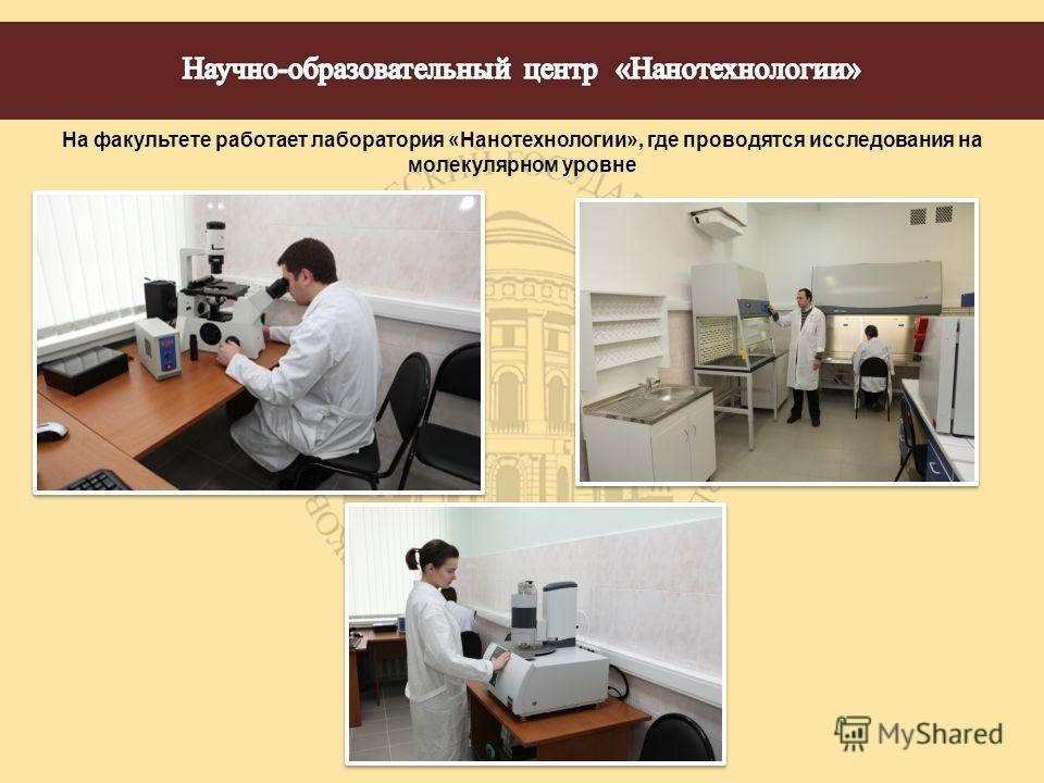 На факультете работает лаборатория «Нанотехнологии», где проводятся исследования на молекулярном уровне