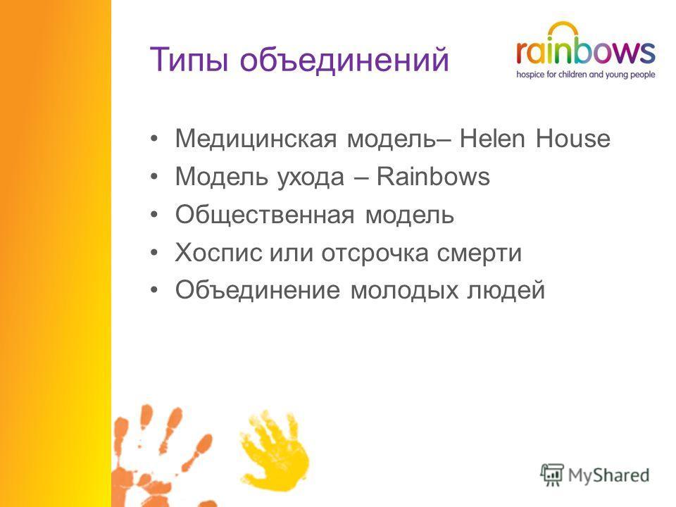Типы объединений Медицинская модель– Helen House Модель ухода – Rainbows Общественная модель Хоспис или отсрочка смерти Объединение молодых людей