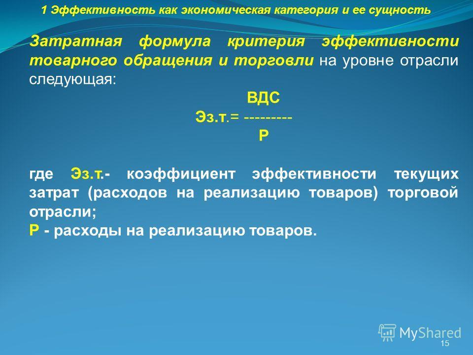 15 1 Эффективность как экономическая категория и ее сущность Затратная формула критерия эффективности товарного обращения и торговли на уровне отрасли следующая: ВДС Эз.т.= --------- Р где Эз.т.- коэффициент эффективности текущих затрат (расходов на