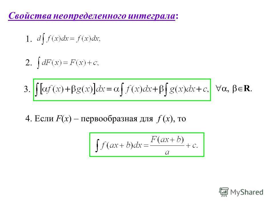 Свойства неопределенного интеграла: 2. 3., R. 4. Если F(x) – первообразная для f (x), то 1.