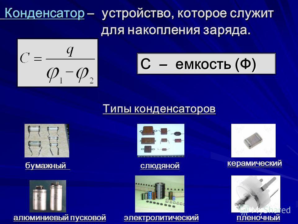 Конденсатор – устройство, которое служит Конденсатор – устройство, которое служит Конденсатор для накопления заряда. для накопления заряда.бумажный алюминиевый пусковой слюдяной керамический пленочныйэлектролитический С – емкость (Ф) Типы конденсатор