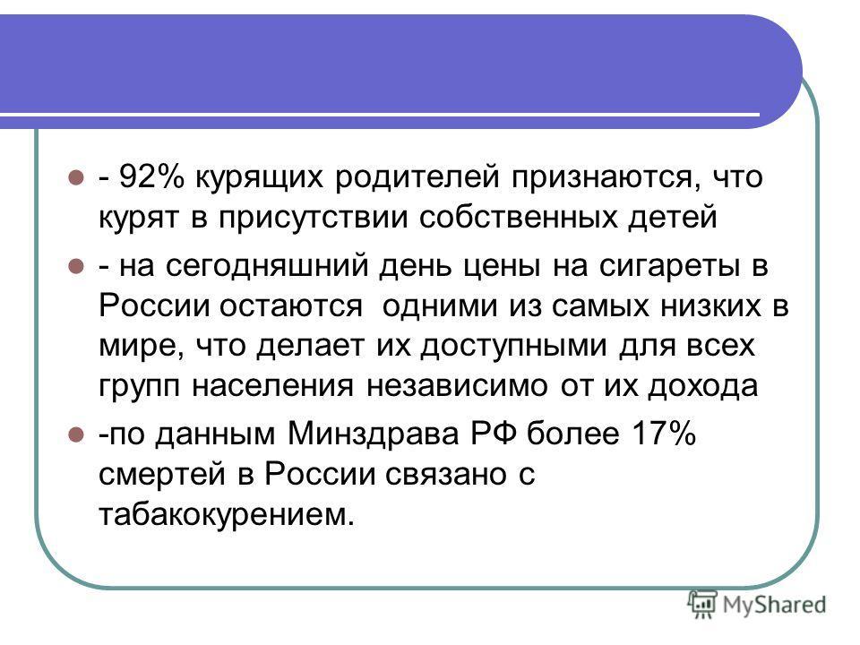 - 92% курящих родителей признаются, что курят в присутствии собственных детей - на сегодняшний день цены на сигареты в России остаются одними из самых низких в мире, что делает их доступными для всех групп населения независимо от их дохода -по данным